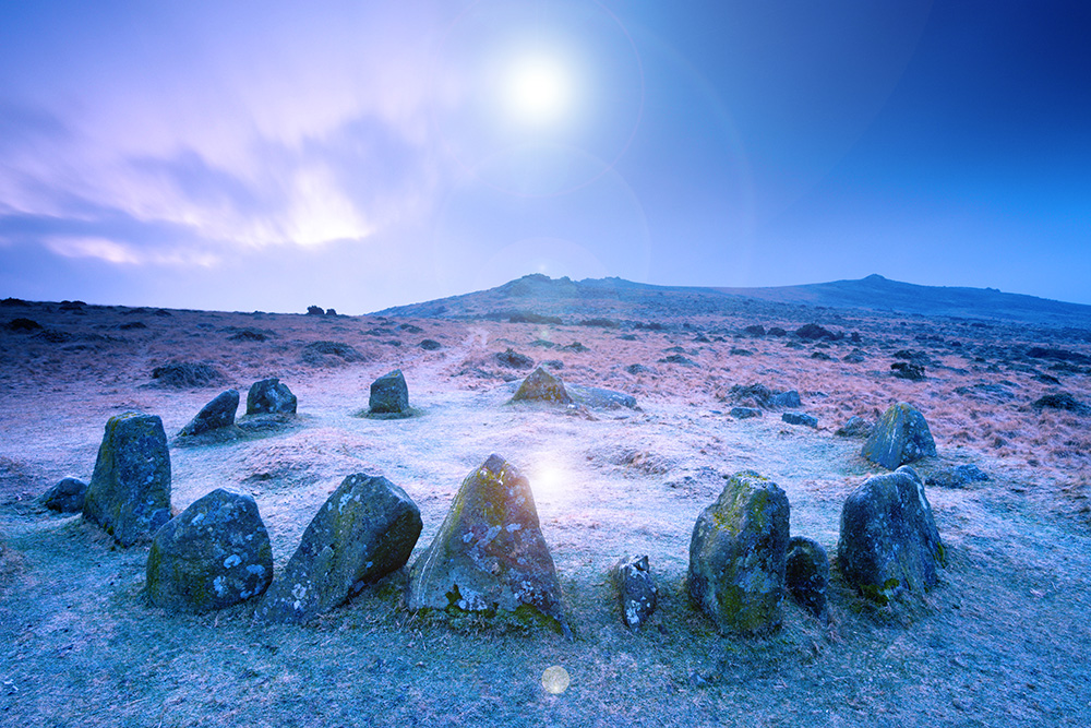 Stone circle cairn on Dartmoor, known as both the Nine Maidens and the Seventeen Brothers, Belstone Common, Dartmoor